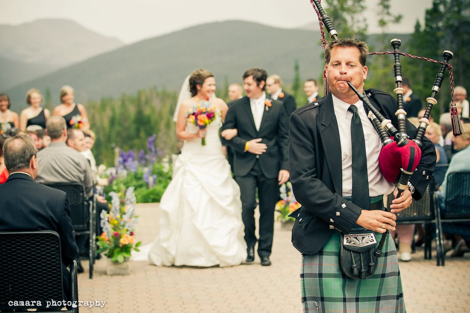 Colorado bagpiper at 10 Mile Station in Breckenridge Colorado, photo by Camara Photography info@camaraphotography.com